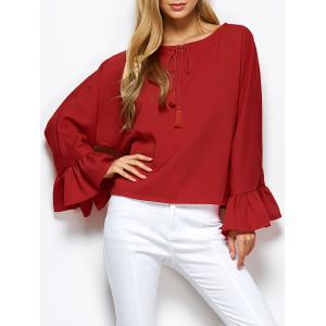 Dolman Sleeve Ruffles Loose Blouse - Red - L