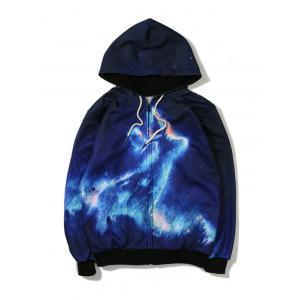 Lightning Printed Zip Up Hoodie