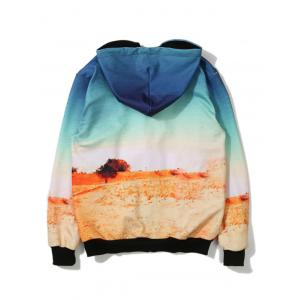 Desert Printed Zip Up Hoodie - BLUE 5XL