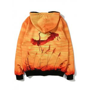 Animal Printed Zip Up Hoodie - ORANGE YELLOW 5XL