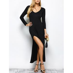 Plunge Neck High Slit Long Sleeve Bodycon Maxi Dress - Black - S