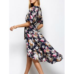 Slit Floral Surplice Tea Length Maxi Dress