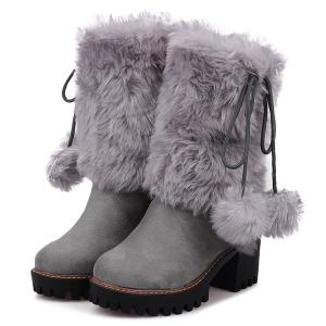 Fluffy Pompon Chunky Heel Mid Calf Boots -