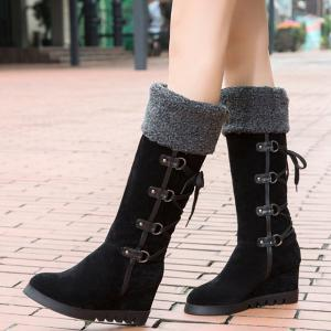 Wedge Heel Faux Shearling Mid Calf Boots -