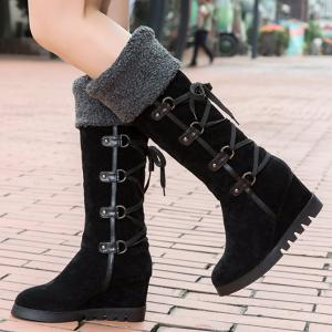 Wedge Heel Faux Shearling Mid Calf Boots - BLACK 39