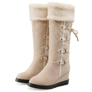 Wedge Heel Faux Shearling Mid Calf Boots - APRICOT 38