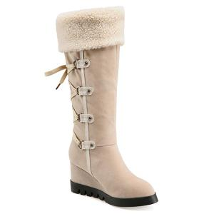 Wedge Heel Faux Shearling Mid Calf Boots - Apricot - 38