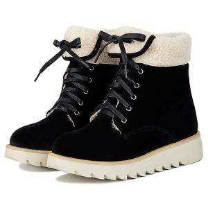 Lace Up Faux Shearling Panel Short Boots -