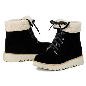 Lace Up Faux Shearling Panel Short Boots - BLACK 39