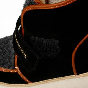 Faux Shearling Panel Zip Embellished Short Boots -