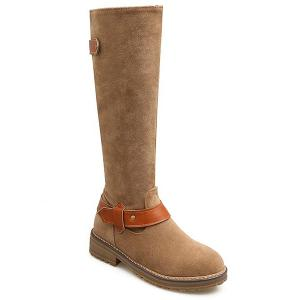 Low Heel PU Strap Mid Calf Boots