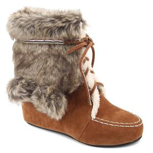 Lace Up Fluffy Hidden Wedge Short Boots - Light Brown - 37