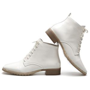 Lace Up Square Toe Patent Leather Ankle Boots - WHITE 39