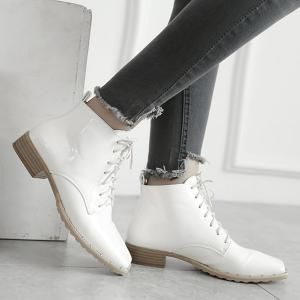 popular free shipping Cheapest Lace Up Square Toe Patent Leather Ankle Boots - White 38 free shipping huge surprise bsOUjovu