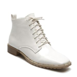 Lace Up Square Toe Patent Leather Ankle Boots - White - 38