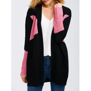 Open Front Color Block Knit Cardigan