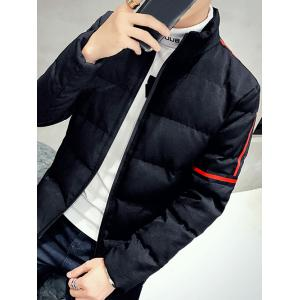 Zip Up Stand Collar Striped Quilted Jacket -
