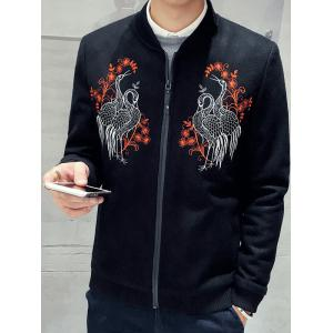 Stand Collar Zip Up Bird Embroidery Jacket