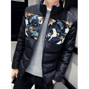 Zip Up Floral Printed Quilted Jacket -