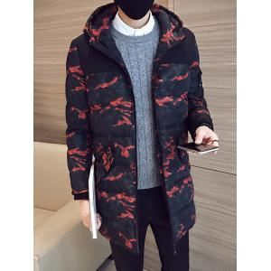 Quilted Zip Up Camouflage Hooded Coat - Red - M