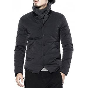 Rib Neck Pocket Snap Front Padded Jacket -