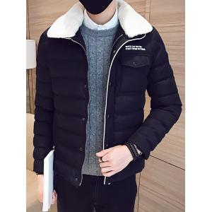 Removable Faux Fur Collar Zip Up Padded Jacket