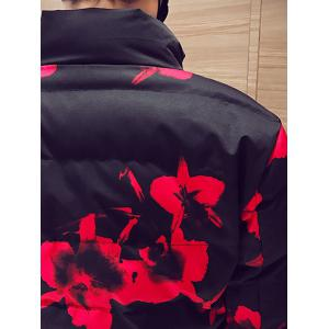 Zip Up Side Pocket Floral Printed Padded Jacket -