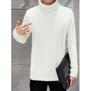 Long Sleeve Turtleneck Cable Knit Sweater - WHITE 2XL
