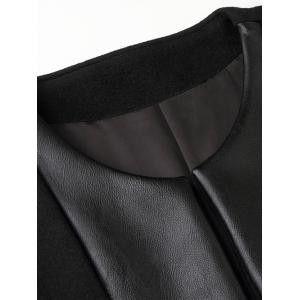 Patch Pocket Faux Leather Insert Tie Front Coat - BLACK XL