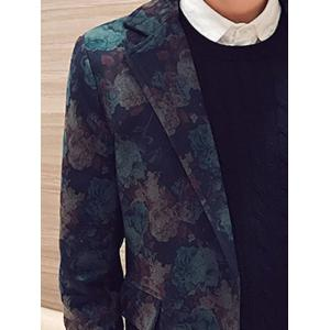 Floral Print Pocket Two Button Coat -