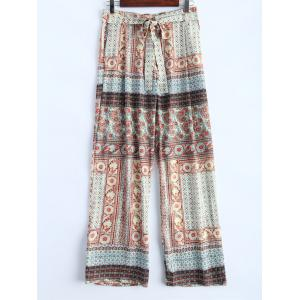 Ornate Floral Print Wide Leg Palazzo Pants - Colormix - L