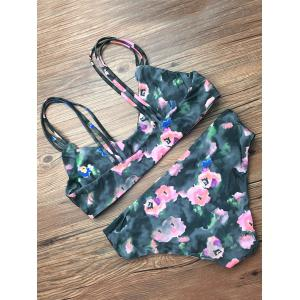 Spaghetti Straps Floral Strappy Bikini Set - BLACKISH GREEN XL