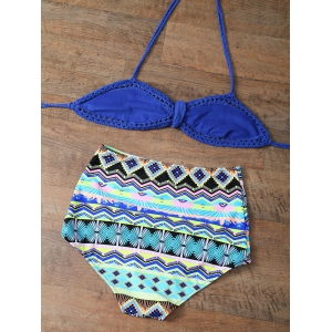 Crochet High Rise Halter Bikini Set -