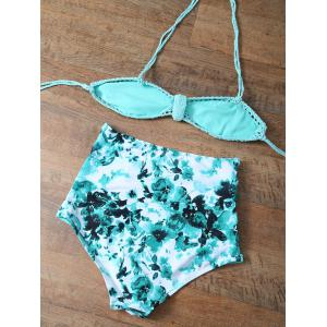 Floral Cutuout Crochet High Waisted Bikini Set -