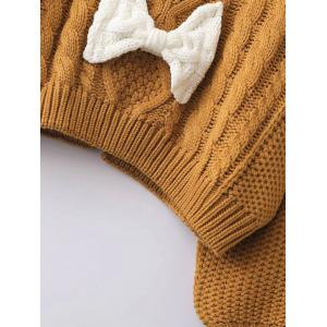 Patched Puffed Sleeve Cable Knit Sweater -