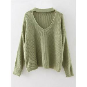 Cut Out Choker Sweater - Grass Green - One Size