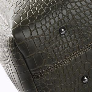 Embossed Metal PU Leather Tote Bag - ARMY GREEN