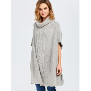 Chunky Cable Knit Batwing Sleeves Sweater - LIGHT GRAY ONE SIZE