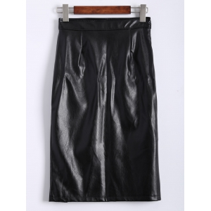 Faux Leather Slit Plain Skirt -