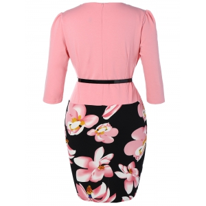 Floral Printed Belted Plus Size Peplum Dress With Sleeves - PINK 4XL