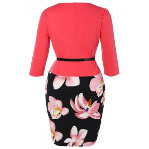 Plus Size Mid Length Pencil Peplum Dress - ROSE RED XL
