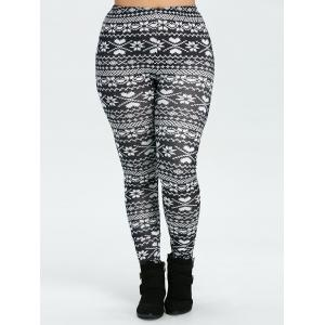 Plus Size Christmas Snowflake Printed Leggings - BLACK 4XL
