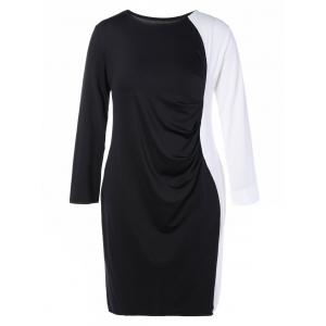 Plus Size Color Block Long Sleeve Sheath Modest Work Dress - BLACK 3XL