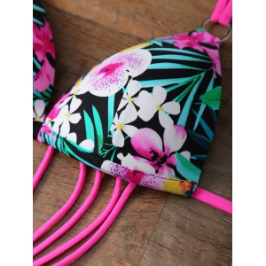 Floral Strappy One Piece Monokini Swimsuit -