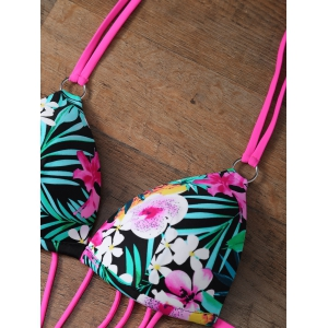 Floral Strappy One Piece Monokini Swimsuit - FLORAL L