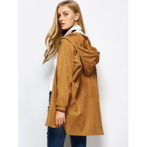 Hooded Zippered Loose Coat - CAMEL M