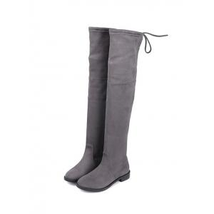 Flat Heel Suede Over The Knee Boots -