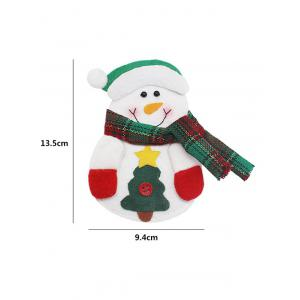 Christmas Snowman Knives Forks Cover Bag Table Decoration - WHITE