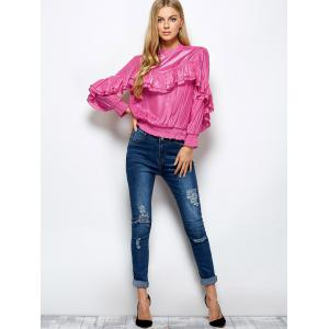Stand Neck Ruffles Embellished Blouse - PINK 2XL