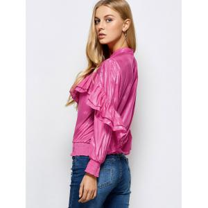 Stand Neck Ruffles Embellished Blouse - PINK L